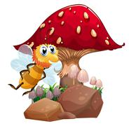 Stock Illustration of A bee near the red giant mushroom