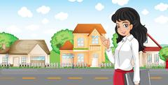 A lady with a formal attire standing across the neighborhood Stock Illustration