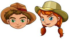 Faces of a boy and a girl Stock Illustration