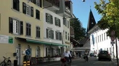 Europe Switzerland city of Solothurn 009 street with typical houses Stock Footage