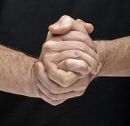 two hands togheter meaning that all are done - stock photo