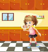 A girl eating lollipop Piirros