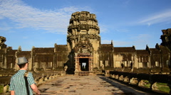 Tourists Walking at the Main Temple - Angkor Wat Temple - stock footage