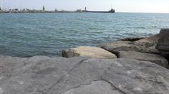 Mouth of the River and Boulders Stock Footage