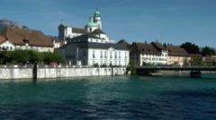 Europe Switzerland city of Solothurn 007 landmark catholic cathedral at river Stock Footage