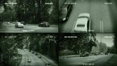 CCTV Road Traffic Splitscreen - stock footage