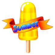 A refreshing icecream on stick for summer - stock illustration