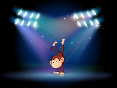 A monkey doing a handstand in the middle of the stage - stock illustration