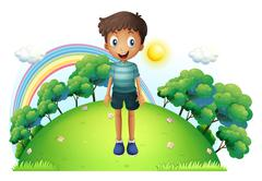 A boy standing in the middle of the hill Stock Illustration