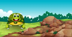 Stock Illustration of A turtle crawling near the rocks
