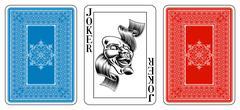 poker size joker playing card plus reverse - stock illustration