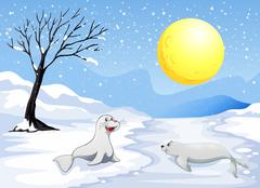 Sea lions playing with the snow under the fullmoon - stock illustration