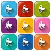 Stroller icons - stock illustration