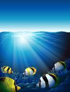 Stock Illustration of Fishes under the sea with sunlight