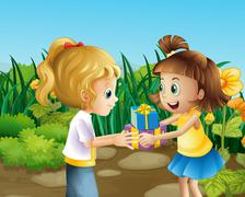 Two friends exchanging gifts outdoor Stock Illustration