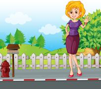 A woman at the street near the wooden mailbox - stock illustration