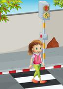 Stock Illustration of A young lady at the pedestrian lane