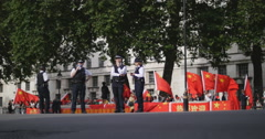 Demo against China opposite Downing st 4K Stock Footage