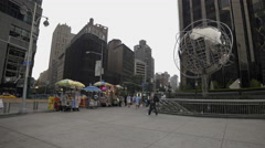 Columbus Circle New York City Manhattan NYC Globe Sculpture Midtown 4K Corporate Stock Footage