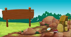 Stock Illustration of An empty wooden signboard near the rocks with a bag