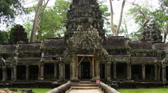 Zoom Out of Ancient Temple Entrance  - Angkor Wat Stock Footage