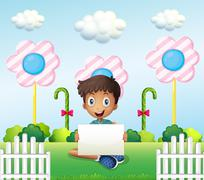 A boy sitting at the ground with an empty signage - stock illustration