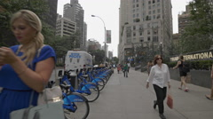 Citi Bike Bicycles Docking Station Manhattan New York City NYC 4K Stock Footage