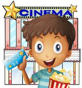 A boy holding a pail of popcorn and a ticket outside the cinema Stock Illustration