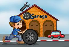 Stock Illustration of A young man pushing the tire in front of the garage