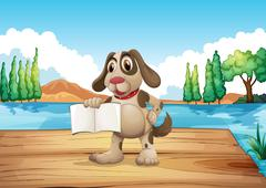 A dog holding an empty book standing at the port - stock illustration