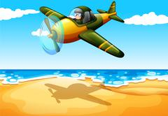 An aircraft at the beach - stock illustration