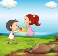 A boy making a marriage proposal at the riverbank Stock Illustration