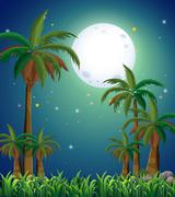 A view of the forest under the bright fullmoon - stock illustration