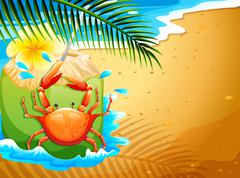 A beach with a refreshing coconut drink and a crab - stock illustration