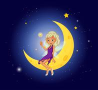 A fairy holding a wand sitting at the moon Stock Illustration
