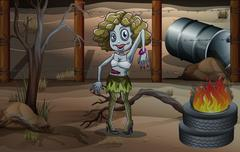 A female zombie near the tires with a fire Stock Illustration