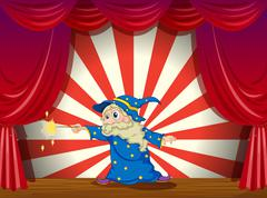 A wizard with a wand in the middle of the stage Stock Illustration