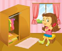A girl brushing her hair inside her room Stock Illustration
