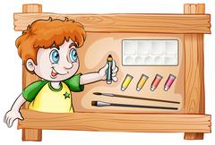 A frame with a young painter Stock Illustration