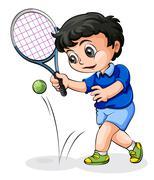 An Asian tennis player Stock Illustration