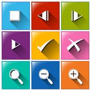 Icons with different symbols Stock Illustration