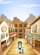 A girl in the town Stock Illustration