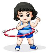 An Asian girl playing with the hulahoop - stock illustration