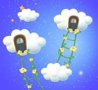 Clouds with doors in the sky - stock illustration