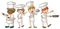 Simple sketches of chefs Piirros