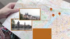 Interactive map of Prague - stock footage