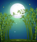 A bamboo forest under the bright fullmoon - stock illustration