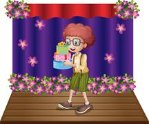 A stage with a young boy holding gifts Stock Illustration