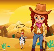 A cowboy and a cowgirl at the desert - stock illustration