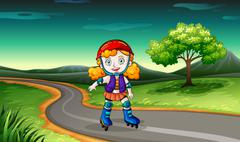 Stock Illustration of A girl rollerskating in the street
